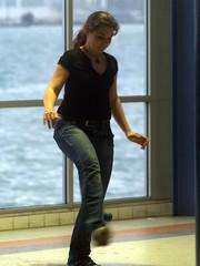 Foot Juggling (Catching Magic) Tags: street newzealand people woman football olympus auckland ppl e300 tiraudan devonport
