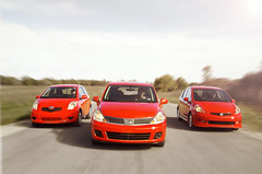 Three Little Cars 01 (the.leafmaker) Tags: road red blur car honda magazine lens leaf automobile nissan fast flare toyota winding maker versa fit yaris windingroad the leafmaker theleafmaker