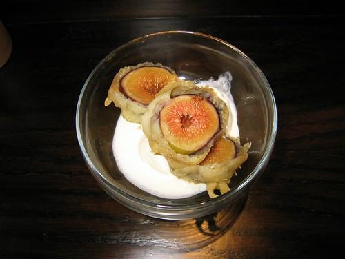 オーガニックいちじくの天ぷら バニラアイスクリーム添え