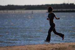 Running Woman (mrhayata) Tags: park sea sky woman beach japan geotagged tokyo seaside sand run 日本 東京 edogawa kasai rinkai 東京都 女性 mrhayata geo:lon=1398534628 geo:lat=356387444