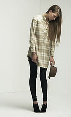 Flannel Check dress, Ladder Knit Leggings (jazzbabyal) Tags: lover w07