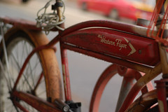 The Super Amazing Western Flyer (avp17) Tags: red urban toronto ontario canada bike bicycle d50 50mm flyer nikon rust downtown dof retro queen western shallow nikkor 18 queenwest 50 parkdale queenstreet westernflyer