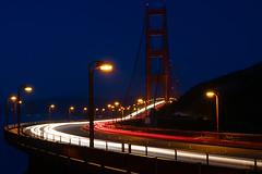 Eternal Flow (Leviathor) Tags: california longexposure travel bridge night san francisco traffic goldengatebridge goldengate roadtrip2006