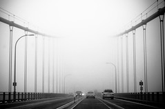 Tacoma Narrows bridge (Simple Insomnia) Tags: seattle bridge bw white black fog dark washington eerie creepy tacoma narrows fixedshadows