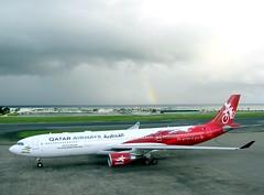 A7-AEG Airbus A330-302 (╚ DD╔) Tags: male rain airport rainbow cloudy maldives didi qr qatar lighning hulhule vrmm a7aeg atcdd