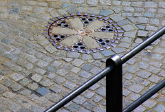 Patterns (:Linda:) Tags: germany bavaria town bamberg curvy franconia symmetry cobblestone banister railing manholecover patttern gullydeckel bicolored pflasterstein cobbledstone gepflastert