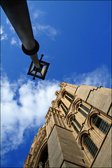 catheedral and lampost (jasontheaker) Tags: old light sky sun birds clouds cornwall cathedral perspective fluffy sunny stormy gas lamppost fashioned
