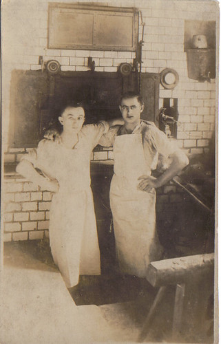 Frederick S. Parr on right in bakery