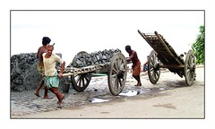 pull carts | Kolkata (arnabchat) Tags: india water wheel start river clay cart kolkata calcutta ghaat arnabchat arnabchatterjee