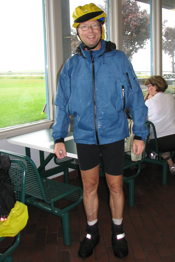 Soggy Cyclist taking Refuge from the Rain