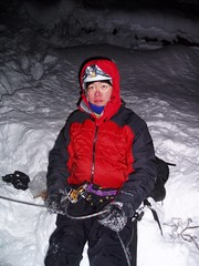 Is This An Epic Yet? (Dru!) Tags: 2005 winter canada cold ice night frozen waterfall bc britishcolumbia january climbing jacket hellsgate puffy epic iceclimbing frasercanyon belay fraservalley stemalot iceclimb