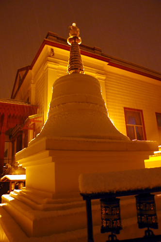 snow falling, Monastery Stupa, USA, 2006