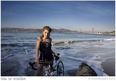 Title IX: Triathlon (portrait) (SFMONA) Tags: woman beach sports water girl fashion vintage goldengatebridge concept ideal conceptual 40s triatholon womenissues titleix firsttheearth