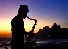 Sunset Music I (Daniel Schwabe) Tags: sunset brazil music brasil riodejaneiro topc50 silhoette saxophone ipanema 50club p1f1