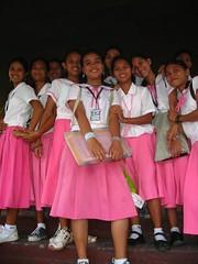 School girls in pink uniform (Vueltaa) Tags: pink school girls mall shopping uniform philippines bohol visayas tagbilaran