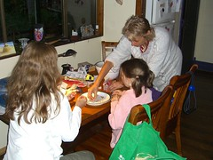 Anna, Meta and Carol doing some bead work