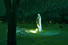 (Daniel Bray) Tags: longexposure green graveyard statue cemetary flash mary mother virgin strobe avemaria longexosure strobist gnarvision danielbray