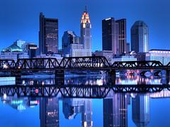 Columbus, OH Skyline (matthewkaz) Tags: city railroad bridge columbus ohio skyline night buildings river bravo downtown skyscrapers columbusohio atlas hdr sciotoriver 2007 levequetower hdrattempt