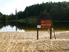 img 5824 (cshontz) Tags: statepark lake beach sign forest woods pennsylvania baldeagle stopsign recreationarea stateforest rbwinter baldeaglestateforest