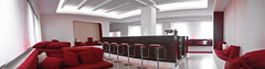DCLounge Pano3 (frischmilch) Tags: red panorama white architecture bar germany relax design marketing furniture kubrick interior room lounge cologne style retro afterwork couch agency spaceship form spaceshuttle interiordesign medien nordrheinwestfalen stylish redandwhite chillout wideangel interiorarchitecture retrostyle antwerpes unternehmen doccheck retrolook roomdesign chilloutarea