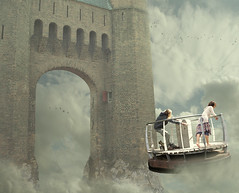 The Dimension Gate (Mattijn) Tags: travel castle rock ferry cat fly gate surreal adventure fantasy photomontage pino mattijn amersfoort anideg thedimensiongate