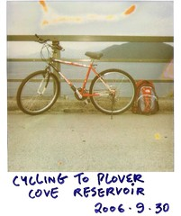 Plover Cove Reservoir * (* andrew) Tags: red classic film bike bicycle polaroid hongkong cove reservoir 600 backpack instant northface plover one600