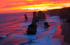 sunset at the apostles (gervo1865_2 - LJ Gervasoni) Tags: ocean sunset sea water weather clouds sand waves australia victoria geology greatoceanroad twelveapostles 12apostles apostles shipwreckcoast i500 aplusphoto photographerljgervasoni