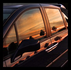 Nature is the most talented painter... (Lionoche) Tags: auto sunset painting voiture sunsetreflection carreflection suninawindow sixsixsixclub