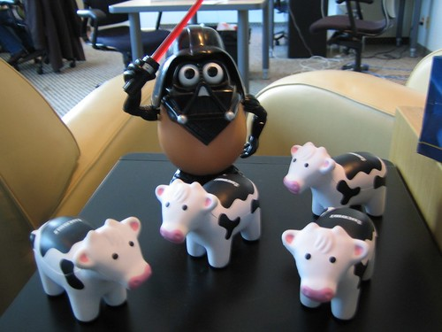 Darth Tater herding Cows