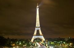 eiffel tower sparkling by night