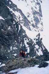 Steep Choss (Dru!) Tags: 2003 canada spring bc britishcolumbia steve adventure alpine mountaineering rubble badweather loose scramble chilliwack northcascades cascademountains scrambling talus arcteryx canadianborderpeak stemalot skagitrange harng badrock tamihicreek chilliwackvalley chilliwackrivervalley choss looserock