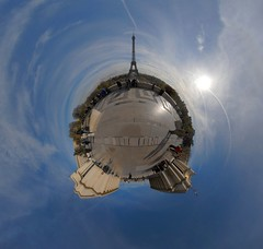 Eiffel, take me to the moon (Man) Tags: paris france gimp eiffel handheld 360x180 360 trocadro planetoid hugin enblend littleplanet planetoids