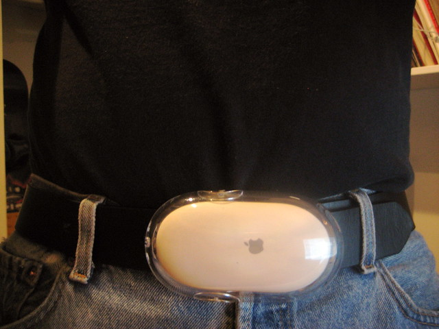 Apple Pro Mouse Beltbuckle instructable