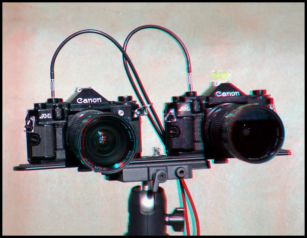 Twin Canon A-1 Stereoscopic Camera Rig (variable stereo base & variable focal lengths). *** stereo anaglyph 3-d