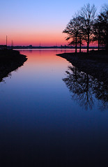 The Twilight Zone. (BamaWester) Tags: blue sunset red lake reflection nature water outside outdoors twilight dusk alabama silhouettes decatur thetwilightzone bamawester outstandingshots napg