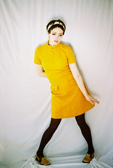 Twist! (Karla Jean Davis) Tags: fashion yellow vintage model 60s highkey twiggy vintagedresses karlajeandavis