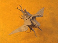 Flying Samurai Helmet Beetle (Friedman Origami) Tags: orange art paper insect design wings origami helmet beetle horns samurai fold allomyrina dichotoma