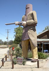 Ned Kelly (yewenyi) Tags: street statue gun rifle helmet australia victoria criminal vic nedkelly aus armour touristattraction outlaw glenrowan oceania bushranger auspctagged bodyarmour manwithgun pctagged pc3675 irishaustralian colonialpolitics