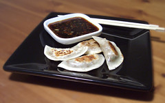 Honey-Balsamic Duck Gyoza with Soy Dipping Sauce