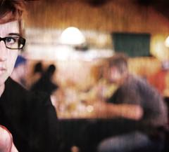 saturday (davidcrawford) Tags: portrait anna cafe pretty bokeh girlwithglasses ilikecoffee smoothbokeh