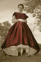 Miss September 1864 (sirchuckles) Tags: red cindy sepia vintage cutout civilwar upskirt pinup reddress cabinetcard 1864 missseptember forthecause