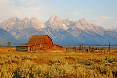 A Morning Sunlit Moment (Jeff Clow) Tags: barn bravo grandtetonnationalpark specnature subtlehdr jacksonholewyoming moultonbarn abigfave