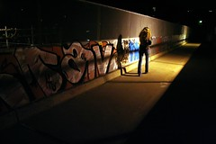 Piken p broen (the girl on the bridge), 2006 (NickScando) Tags: city bridge light shadow urban woman girl oslo norway night dark walking graffiti mood darkness walk ominous contemporary citylife atmosphere streetlife m v step pike homage munch jente urbanality urbancondition