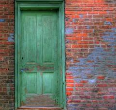 old door (hon 72) Tags: door wood old brick green rustic hdr highdynamicrange colot 3xp