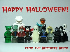 Happy Halloween! (Dunechaser) Tags: halloween skeleton lego ghost dracula frankenstein monsters mummy swampthing wolfman necromancer brothersbrick