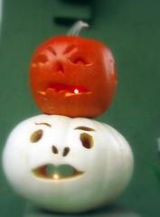 interracial pumpkin love (MAKSTER) Tags: halloween pumpkin jackolantern shy angry happyhalloween demure whitepumpkin nevertooold spiritofhallowee