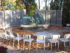silent witness (tamelyn) Tags: sculpture holocaust memorial silent nashville chairs empty torn sculptor witness bookoflife utatathursdaywalk29 alexlimor