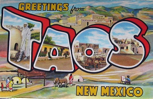 Taos 1936 vintage postcard strip by miheco.