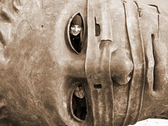 ulla (lower eye) & magda (upper eye) (stempel) Tags: sculpture eye face sepia eyes poland polska warsaw warszawa mitoraj oczy oko twarz rzeba rzezba