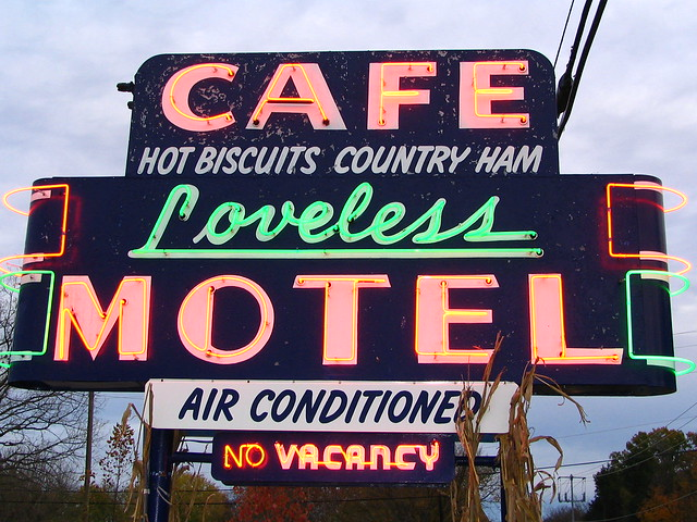 Loveless Cafe Neon Sign before dusk